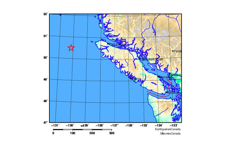 UPDATE: Second earthquake hits off north coast of Vancouver Island, Christmas Day