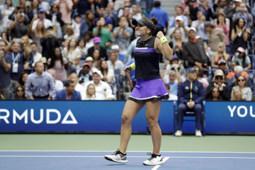 Bianca Andreescu, of Canada, reacts after defeating Serena Williams, of the United States, in the women's singles final of the U.S. Open tennis championships in New York on September 7, 2019. THE CANADIAN PRESS/AP, Adam Hunger