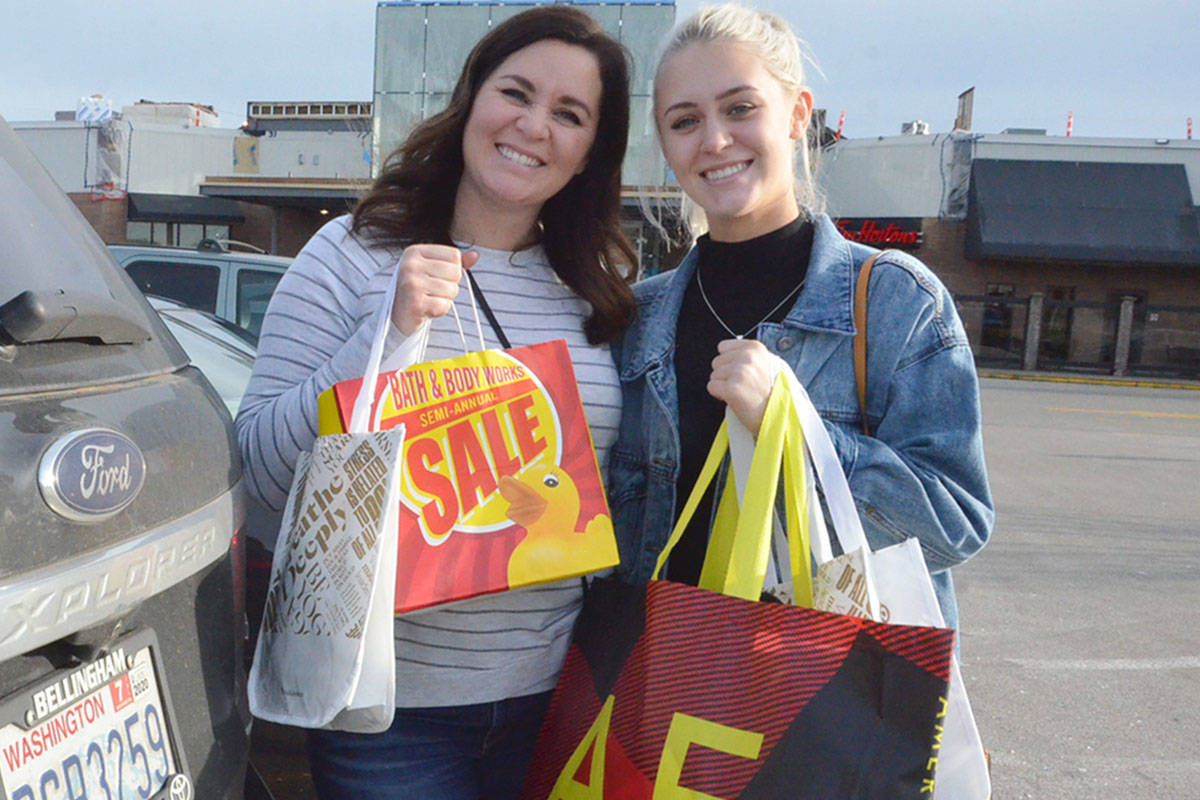 Ann and Claire Cooper are from Blaine, Wash., and decided to check out Boxing Day shopping in Langley. (Heather Colpitts/Langley Advance Times)