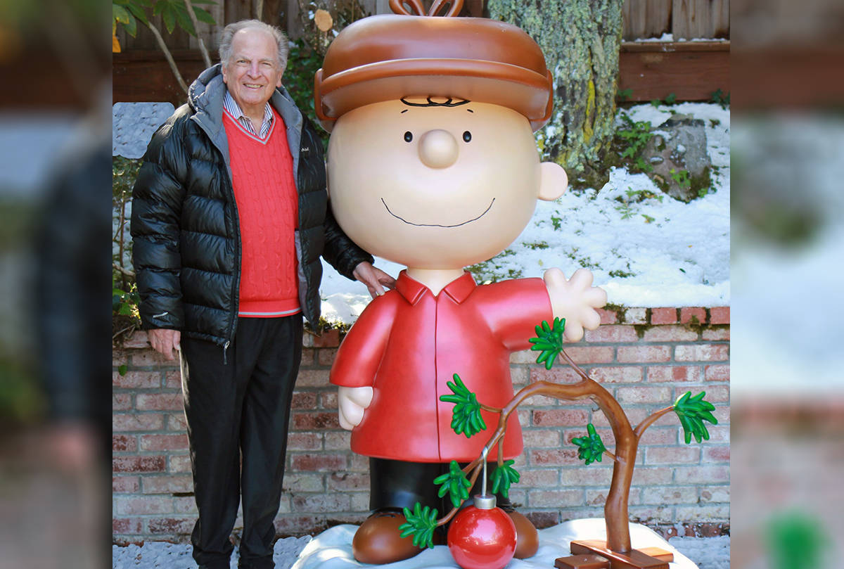 "This 2015 photo provided by Jason Mendelson shows Lee Mendelson in Hillsborough, Calif. Lee Mendelson, the producer who changed the face of the holidays when he brought ""A Charlie Brown Christmas"" to television in 1965 and wrote the lyrics to its signature song, ""Christmas Time Is Here,"" died on Christmas day, Wednesday, Dec. 25, 2019. (Jason Mendelson via AP)"