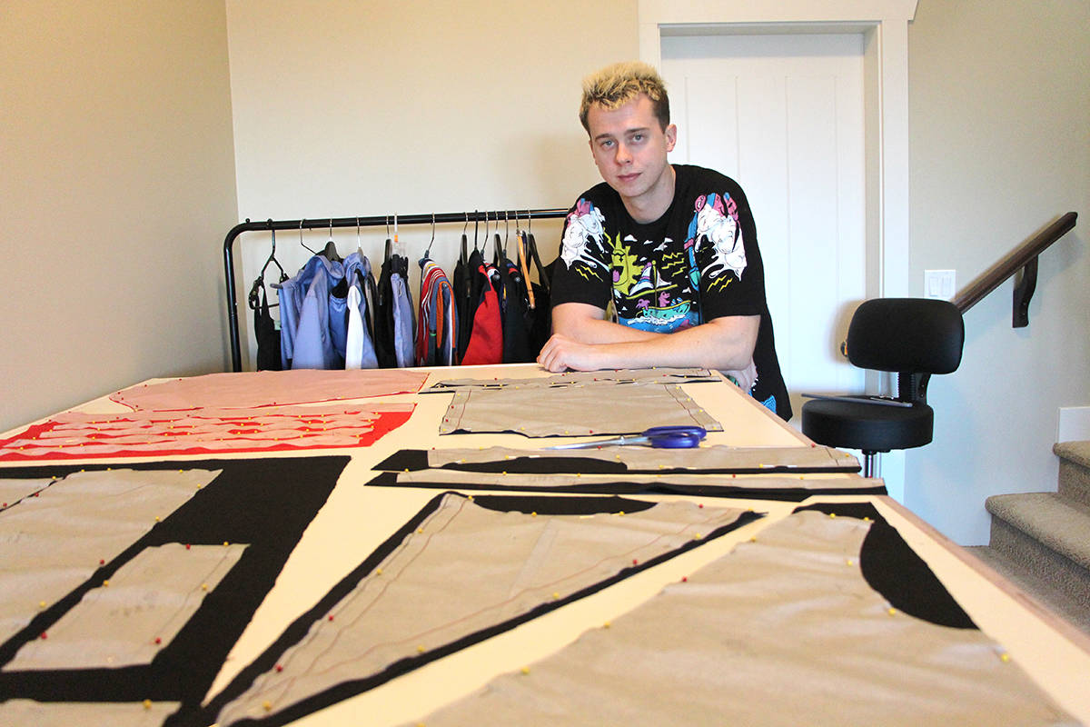 Tyson Gibson has one of his designs laid out and ready to put together from his workspace in the Abbotsford home that he shares with his parents, older brother and younger sister. (Vikki Hopes/Abbotsford News)