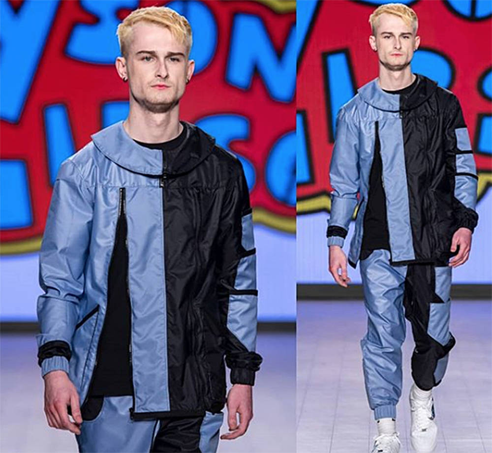 This is one of Tyson Gibson's designs that was featured on the catwalk at Vancouver Fashion Week in October. The model is his older brother Mason.