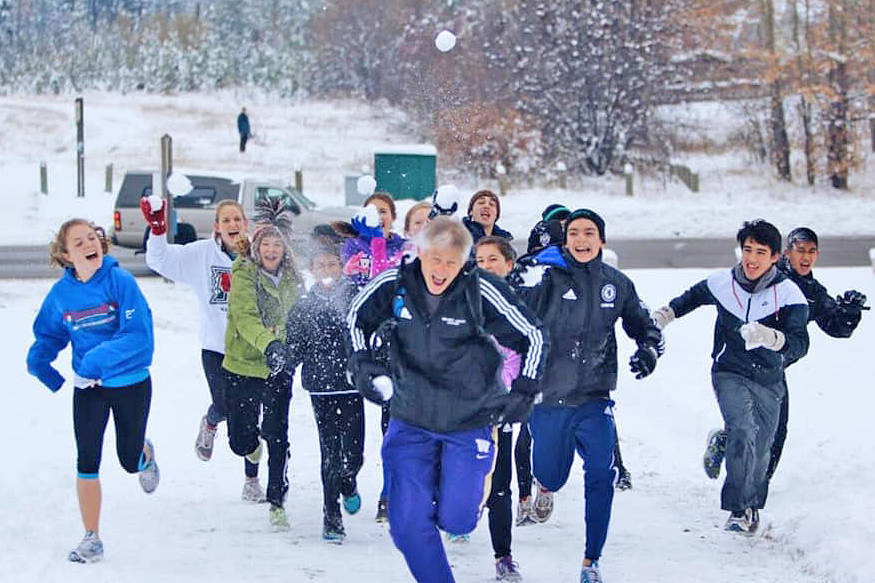 Walnut Grove Secondary Students pursued coach Don Sparks during an impromptu snow fight. Sparks, who passed away in November, is remembered as an inspiration to his student athletes. (Gary Lutes/special to Langley Advance Times)