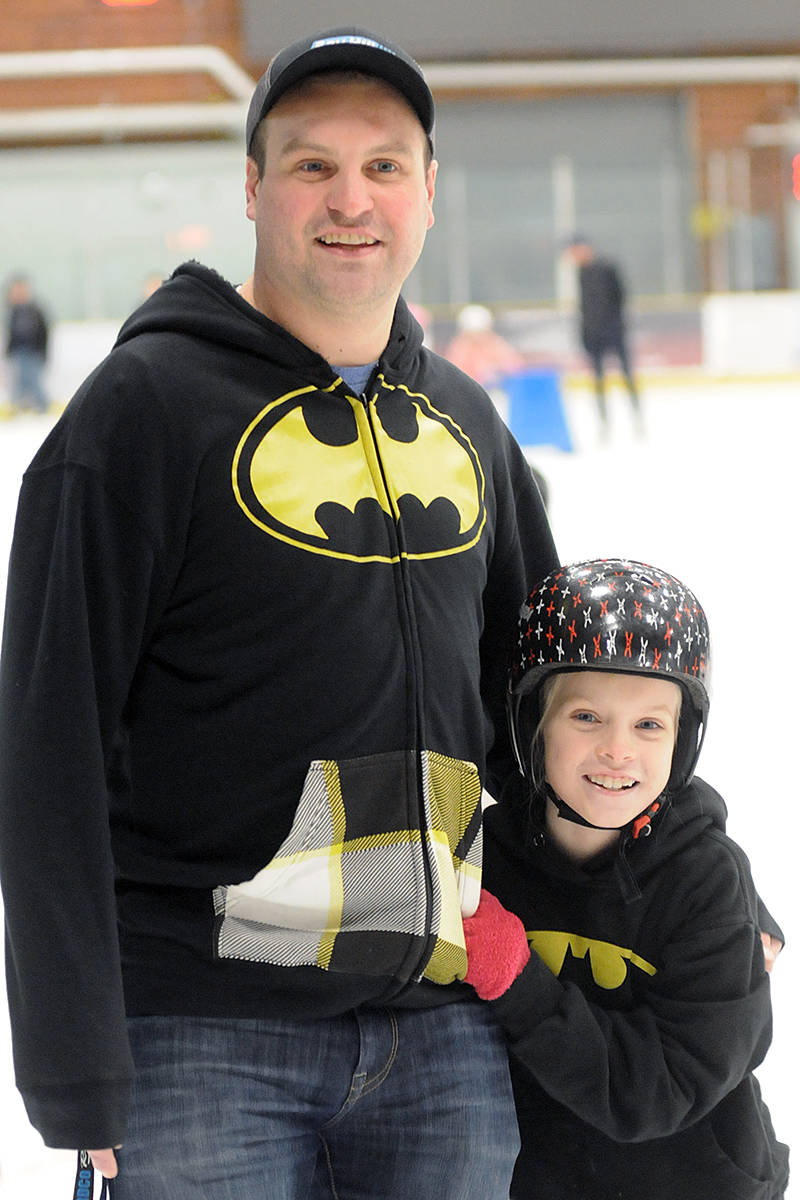 Brookswood resident Tommy Butler and daughter Kylie, 8, brought their Bat-tops to the event. (Dan Ferguson/Langley Advance Times)