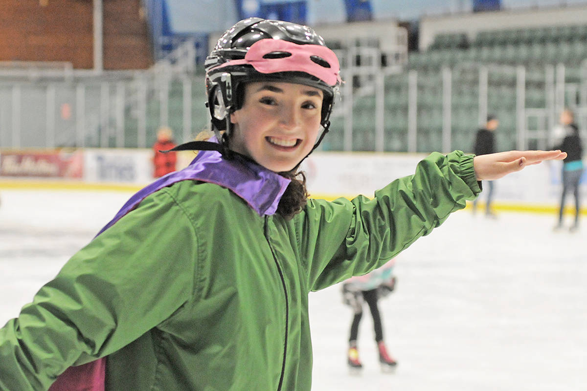 Township staffer Fiona Briner circled the rink, helping novice skaters get back on their feet. (Dan Ferguson/Langley Advance Times)