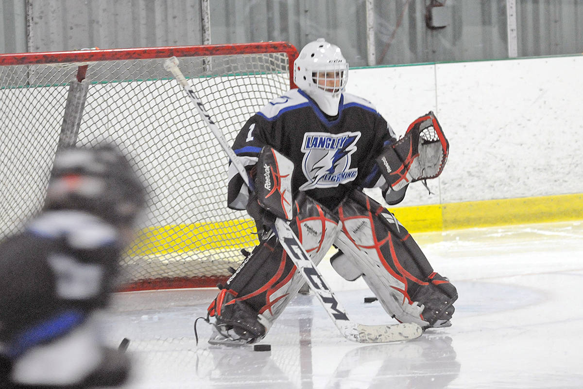 Langley Lightning's goaltender allowed just one shot during the game that downed Cowichan 3-1 Saturday (Dec. 28) at the start of the Angels On Ice tournament at the Langley Sportsplex. Dan Ferguson/Langley Advance Times)