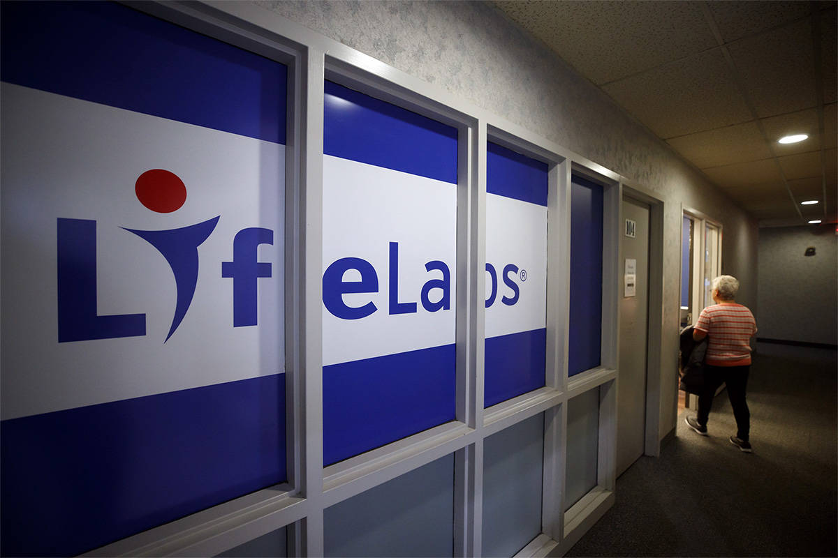 LifeLabs signage is seen outside of one of the lab's Toronto locations, Tuesday, Dec. 17, 2019. (Cole Burston/The Canadian Press)