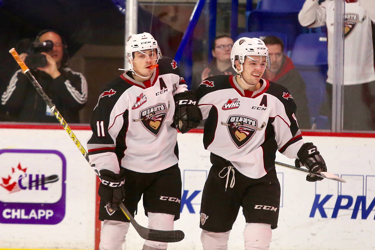 In the first period, at 2:48 into the game, Tristen Nielsen and Tyler Preziuso combined on a shorthanded two-on-one to give the Giants a 1-0 lead during Saturday's (Dec. 28) 6-2 win at Langley Events Centre. (Rik Fedyck/special to Langley Advance Times)