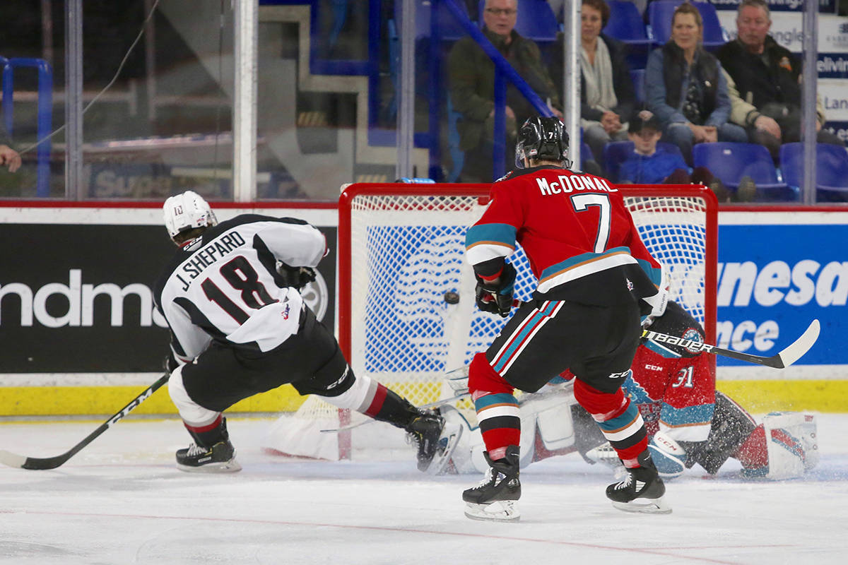 Jackson Shepard scored against Kelowna during Saturday's (Dec. 28) 6-2 win at Langley Events Centre. (Rik Fedyck/special to Langley Advance Times)