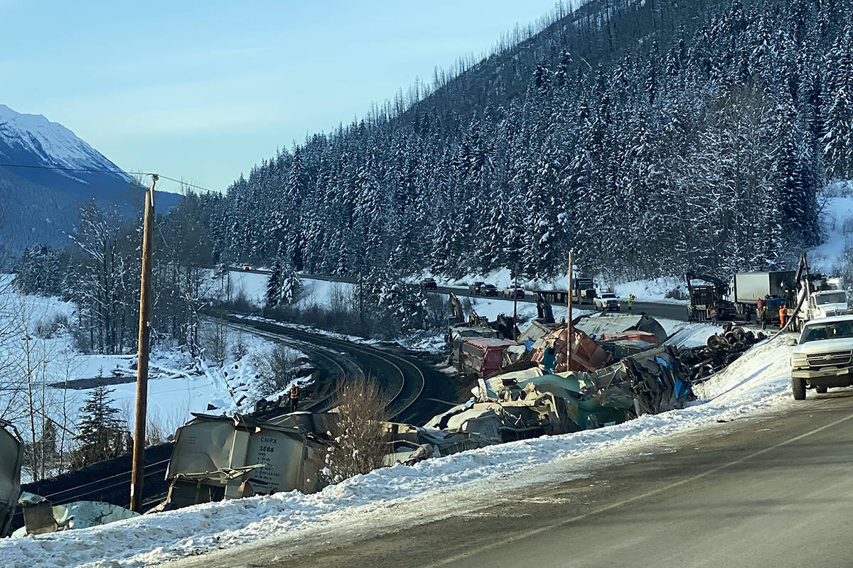 A CN Railway train derailed near the B.C.-Alberta border on Thursday, Dec. 26, 2019. (Angie Mindus/Williams Lake Tribune)