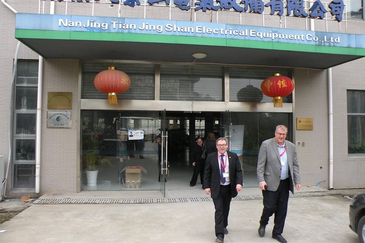 Ben Stewart, then B.C. trade representative for China, and former forests minister Steve Thomson visit Nanjing Technical University facilities, Dec. 3, 2016. B.C. has four trade offices in China as part of its Asia trade network. (Tom Fletcher/Black Press)