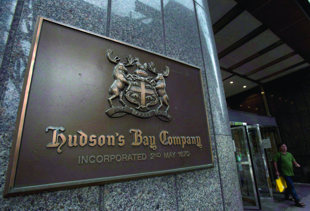 A Hudson's Bay Co. store sign is shown at its Toronto flagship store on July 29, 2013. THE CANADIAN PRESS/Nathan Denette