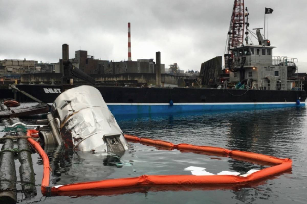 A tank trailer filled with liquefied dead fish was knocked into the water off Vancouver Island on Dec. 30, 2019. (Tavish Campbell)