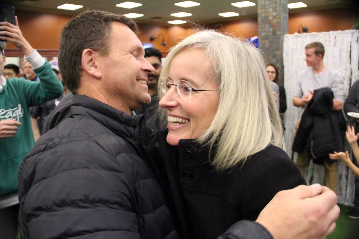 Tamara Jansen embraces a supporter after winning the Cloverdale-Langley City riding over the Liberal incumbent John Aldag. (Photo: Malin Jordan)