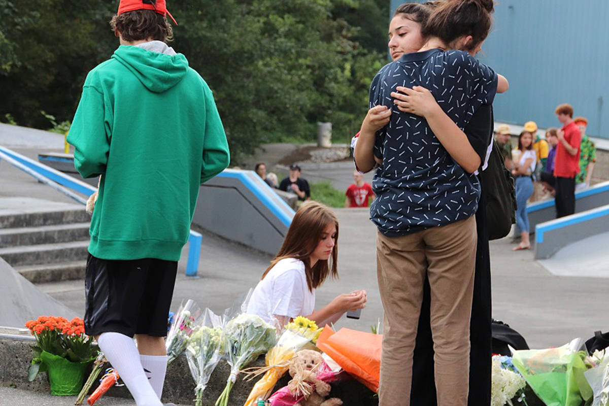 Hundreds gathered for a vigil at the Walnut Grove Community Park on Aug. 4, 2019, for Carson Crimeni, 14, who died of an apparent overdose. (Shane McKichan/Special to Black Press Media)