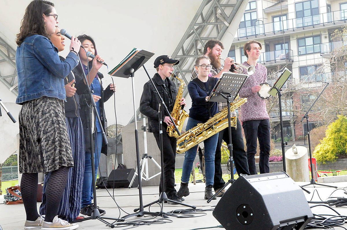 Music students at Kwantlen Polytechnic University held an outdoor concert in Langley City to protest budget-tightening that eliminated new admissions. A study by a KPU math and science instructor has found KPU gets about half what other regional colleges and universities get. (Advance Times file photo)