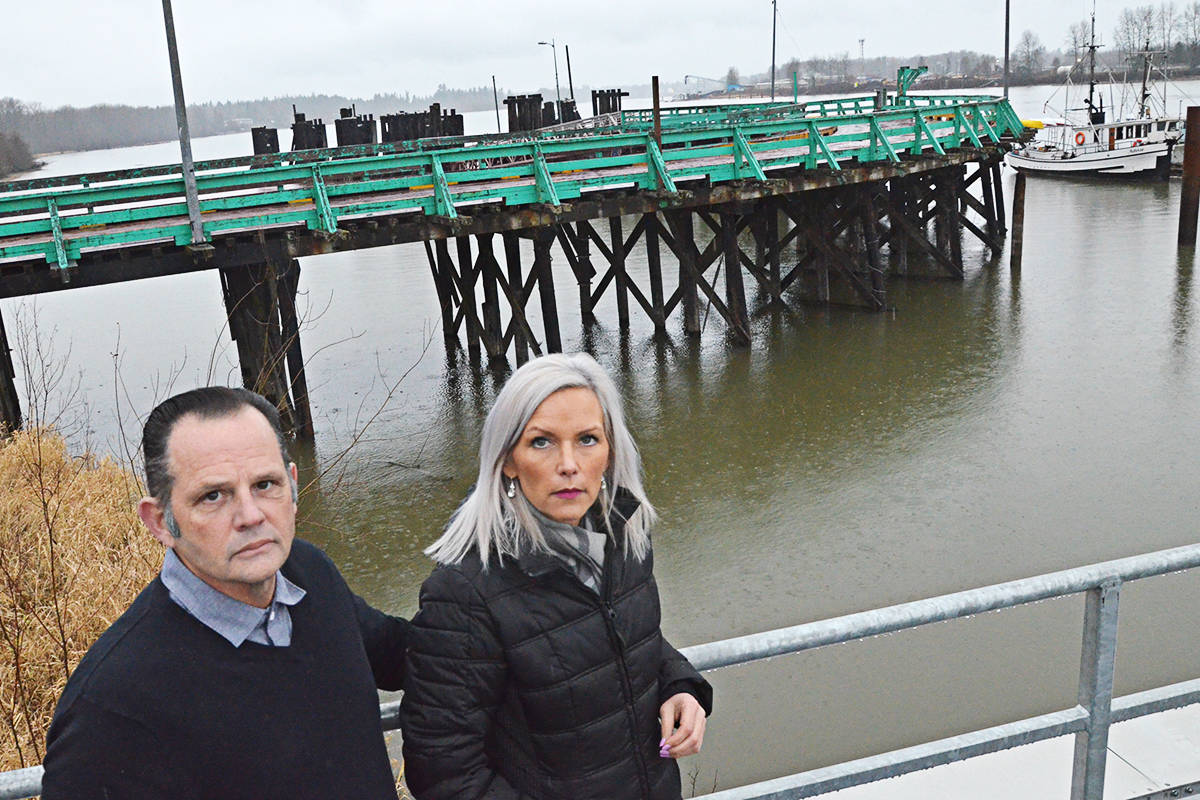 Drew Atkins and Brenda Knights of the Kwantlen First Nation say the aging Albion Ferry dock needs to be removed – but the province is dragging its heels. (Matthew Claxton/Langley Advance Times)
