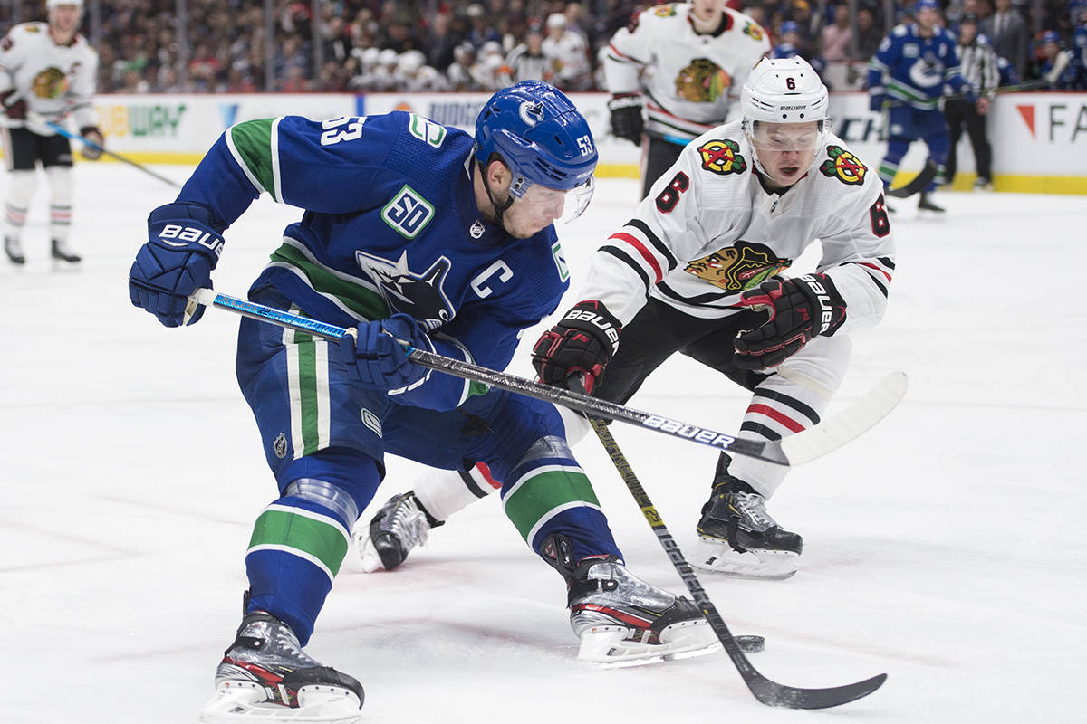Vancouver Canucks centre Bo Horvat (53) fights for control of the puck with Chicago Blackhawks defenceman Olli Maatta (6) during second period NHL action in Vancouver, Thursday, Jan. 2, 2020. THE CANADIAN PRESS/Jonathan Hayward