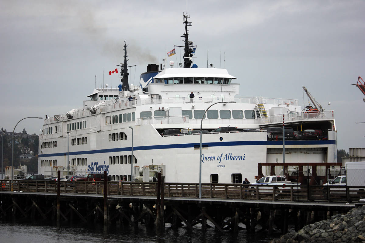 The B.C. Ferries vessel the Queen of Alberni is one of the ships docked this morning as the ferry corporation cancelled several sailings due to high winds. (News Bulletin file photo)