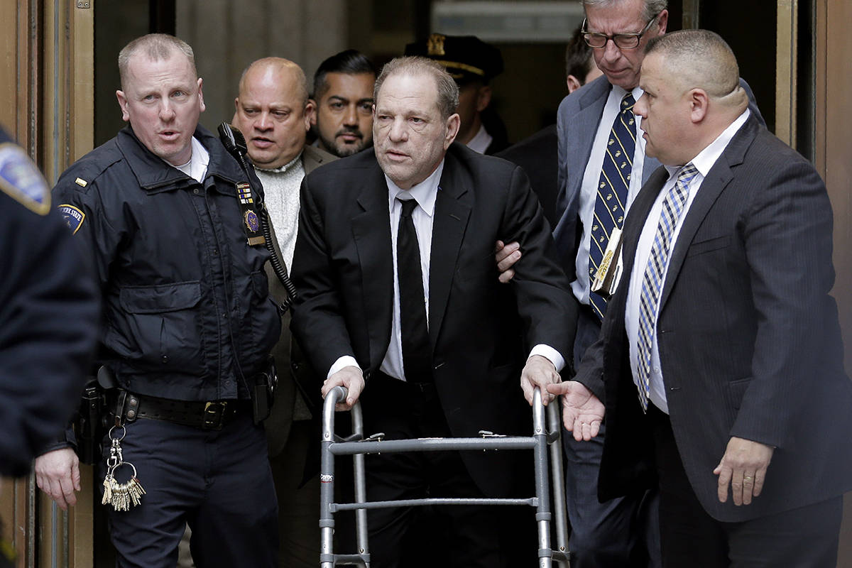 Harvey Weinstein leaves State Supreme Court in New York, Monday, Jan. 6, 2020. Weinstein is on trial on charges of rape and sexual assault, more than two years after a torrent of women began accusing him of misconduct. (AP Photo/Seth Wenig)