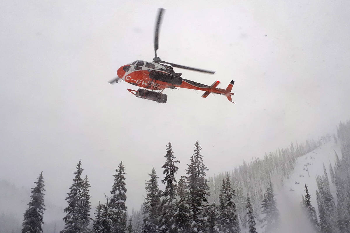 A helicopter was used to find two teenagers lost near Whitewater Ski Resort. Photo courtesy Nelson Search and Rescue