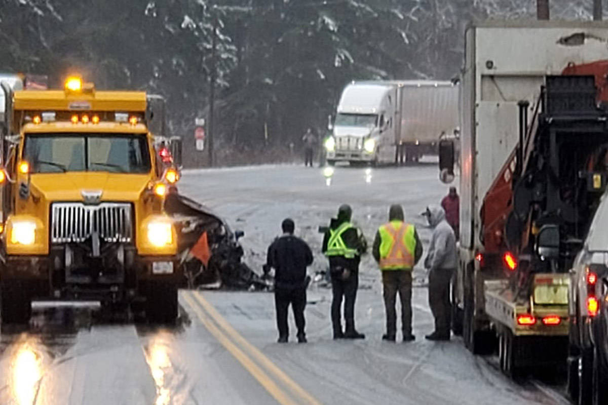 First responders at the scene of a serious crash outside of Hope on Monday afternoon on Highway 1. (Photo by Michele Franklin)