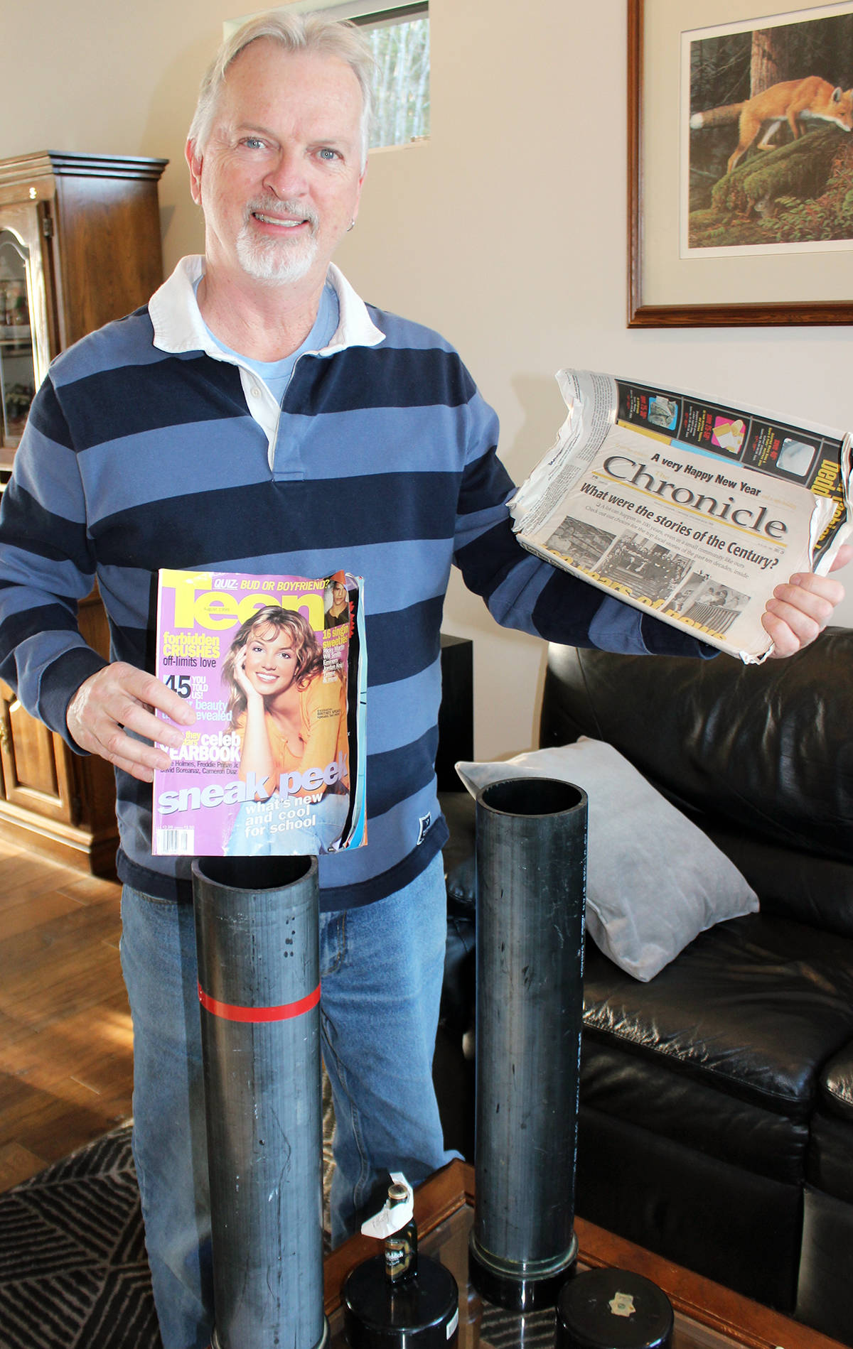 Included in the Dan Robin family and friends time capsule was a copy of Teen magazine featuring Britney Spears and an issue of the Ladysmith Chronicle. (Photo by Don Bodger)