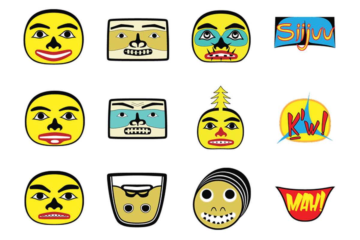 Haida artist and craftsman Jaalen Edenshaw, with the help of Geoffrey Horner, has created a set of 36 emojis that reflect old Haida stories, Haida expressions, and existing emojis with Haida-style art.(Photo courtesy of Jaalen Edenshaw)