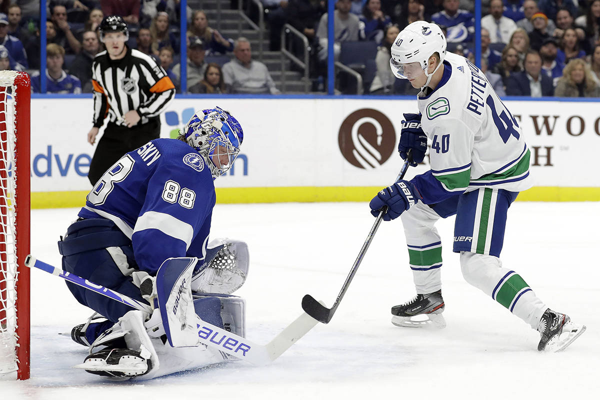 Vancouver Canucks centre Elias Pettersson (40) scores past Tampa Bay Lightning goaltender Andrei Vasilevskiy (88) during the first period of an NHL hockey game Tuesday, Jan. 7, 2020, in Tampa, Fla. (AP Photo/Chris O'Meara)