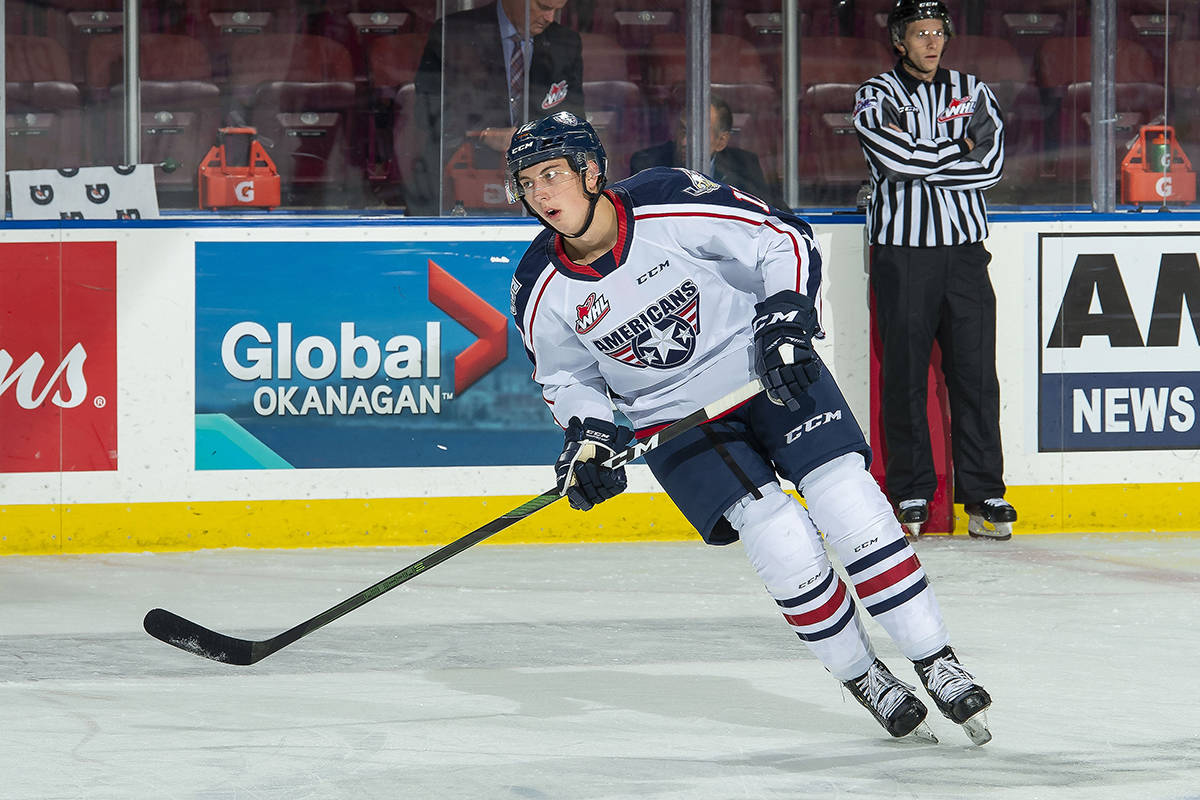 Kaden Kohle is joining the Giants. Seen here as a Tri-City American playing against the Kelowna Rockets at Prospera Place (Photo by Marissa Baecker/Shoot the Breeze)