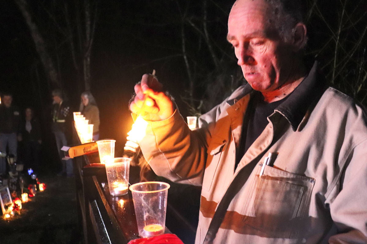 Several strangers to the Regan family organized the vigil, which centred on the construction of a new footbridge that allows easier access to the site of remembrance. (Sarah Grochowski photo)