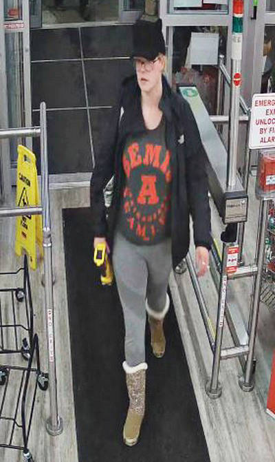 The police released this photo in connection to the theft of two tool battery packs. (Langley RCMP file 2019-46264)
