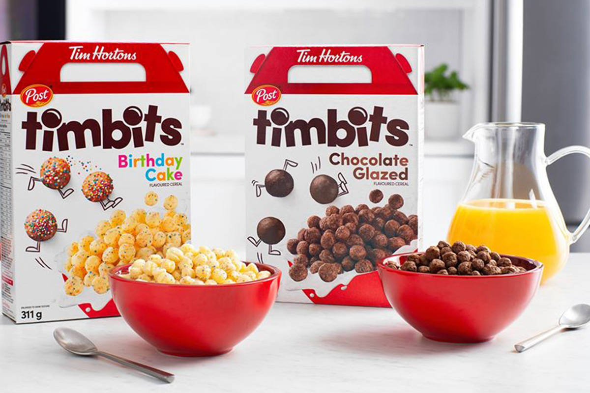 Post Foods Canada and Tim Hortons have joined together to release Timbit cereal. (Post Foods Canada/Facebook)