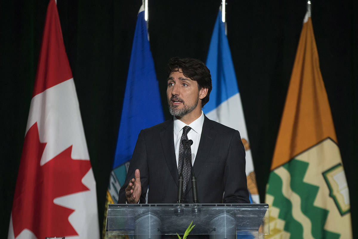 Prime Minister Justin Trudeau speaks during a memorial for the victims of the Ukrainian plane disaster in Iran this past week in Edmonton, Sunday, Jan. 12, 2020.THE CANADIAN PRESS/Todd Korol