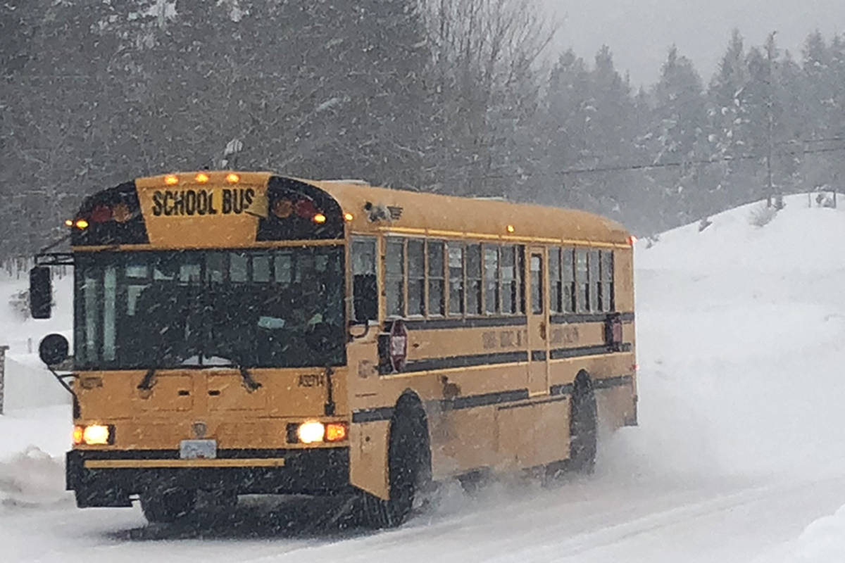 School buses are not running in the Williams Lake and 100 Mile House areas on Jan. 14, 2020. (Angie Mindus/Williams Lake Tribune)