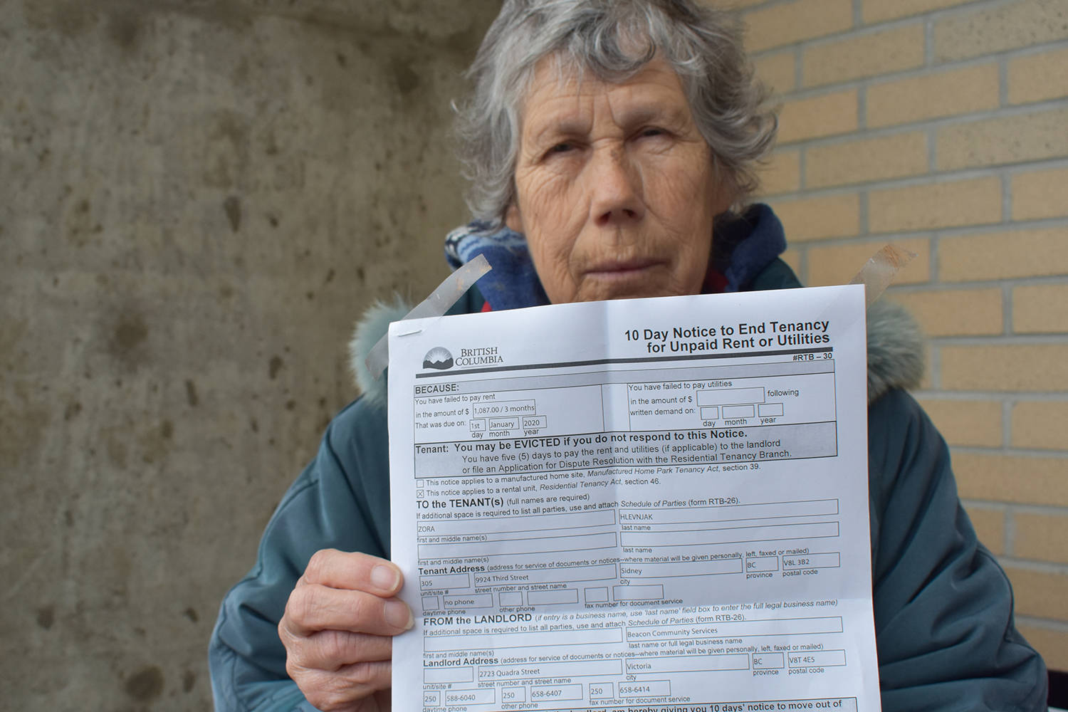 Zora Hlevnjak faces eviction from her Sidney apartment after depositing money raised from empty cans and donations. (Wolf Depner/News Staff)