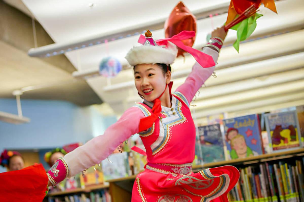 Christina Sun performed a traditional Mongolian dance at last year's Muriel Arnason celebration. (Photo courtesy Muriel Arnason Library)