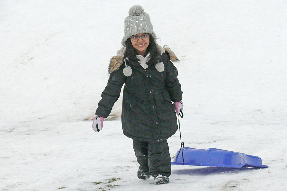Zahra Sran, five, from Murrayville, was getting as many runs in as she could on Saturday (Jan. 18) as temperatures rose and snow retreated on the slope near the George Preston rec centre on Saturday. (Dan Ferguson/Langley Advance Times)