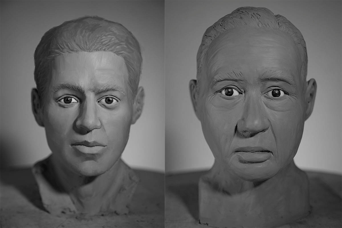 Facial reconstructions by students at the New York Academy of the Arts using 3D printed versions of skulls of unidentified human remains found in Chilliwack in 1972 (left) and in Port Moody in 1995 (right). These are two of 15 skulls provided by the BC Coroners Service to help solve cold cases. (canadasmissing.ca)