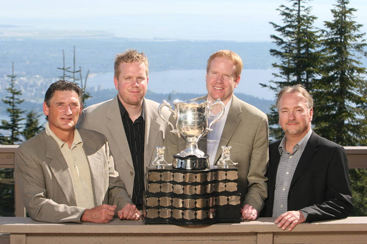 Former Giants head coach Don Hay (left), former Giants contributors and brothers Craig and Scott Bonner, and current Giants owner Ron Toigo. (Chris Relke/Vancouver Giants)