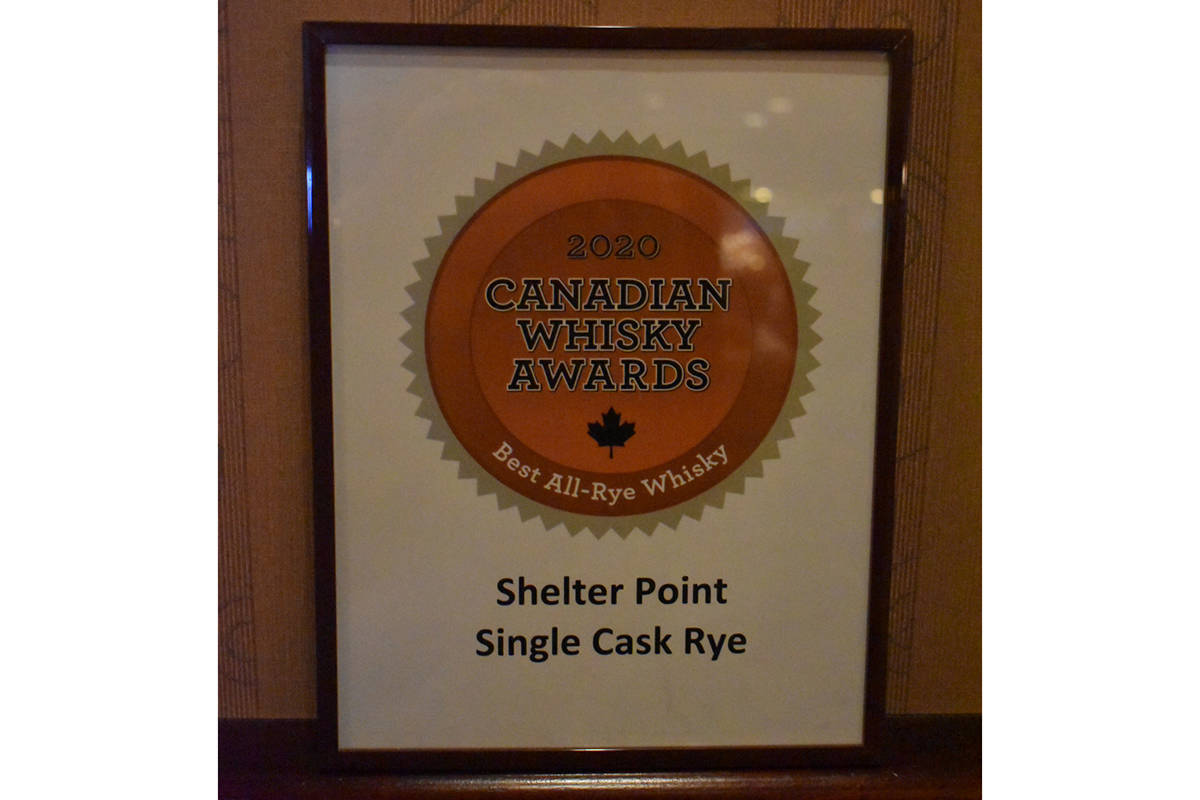 Shelter Point Distillery was awarded the Best All-Rye Whisky in Canada at the Canadian Whisky Awards, Jan. 16 in Victoria. Photo courtesy Shelter Point Distillery