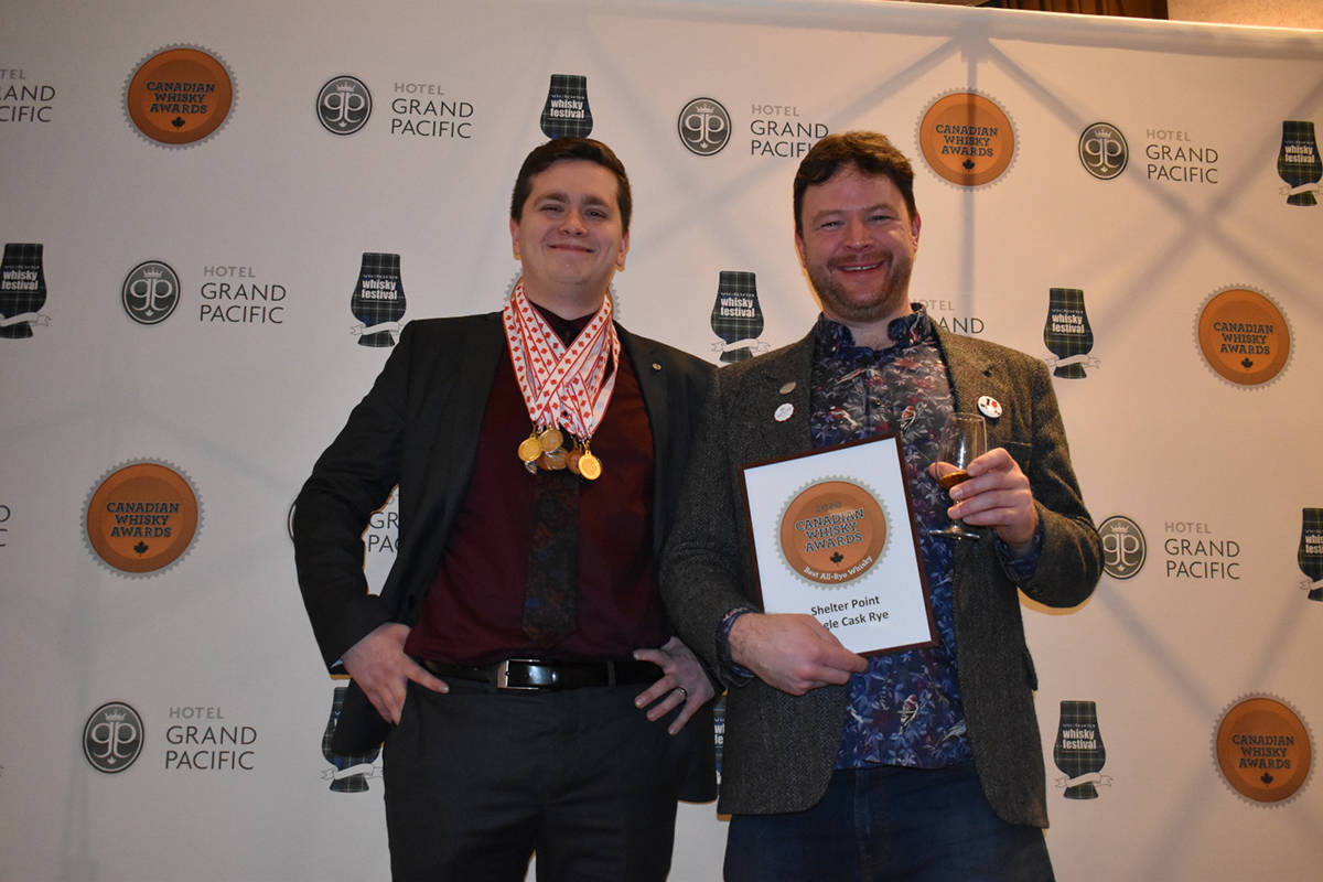 Representatives from Shelter Point Distillery proudly display their medal haul at the Canadian Whisky Awards. Photo courtesy Shelter Point Distillery.