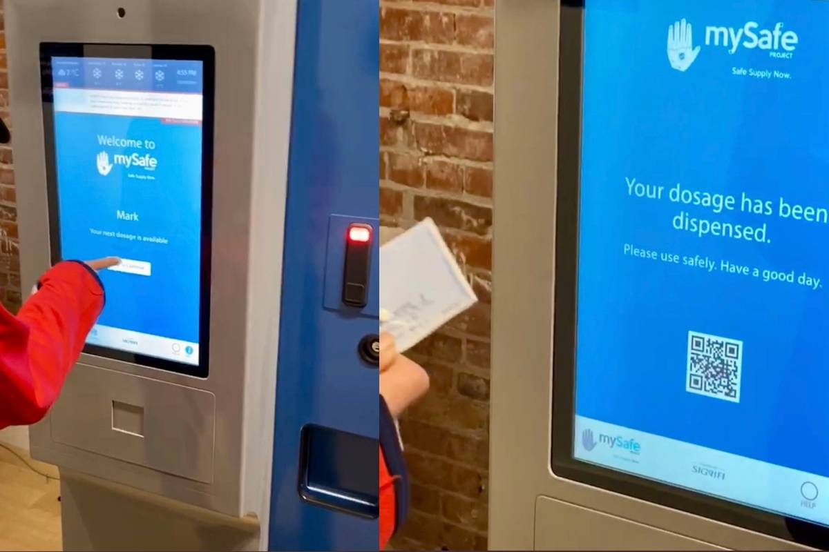 A look at how a new opioid-dispensing machine located in Vancouver's Downtown Eastside works. The pilot project was unveiled Friday, Jan. 17, 2019. (MySafe/Twitter)