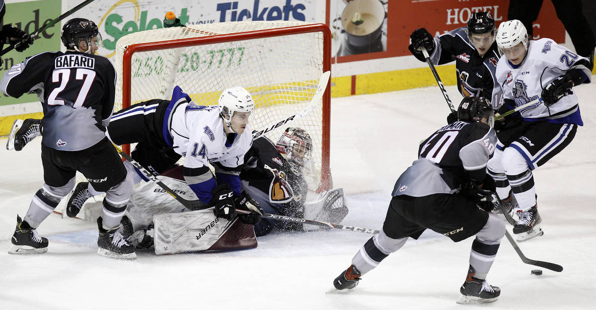 Goaltender Trent Miner was a standout Saturday night (Jan. 19) in Victoria as the Giants earned a 6-2 victory over the Victoria Royals (Kevin Light/special to Langley Advance Times)