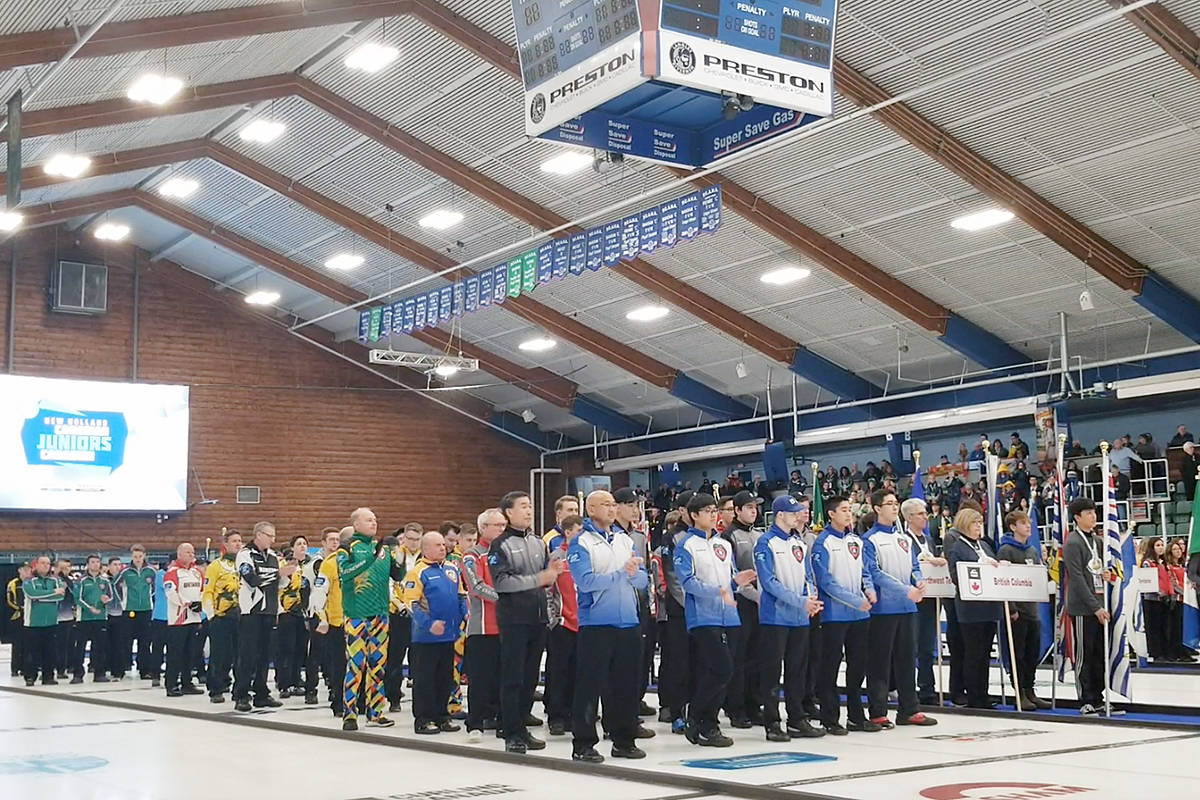 More than 100 top young curlers took part in the official opening of the 2020 New Holland Canadian Junior Championships of curling at the George Preston rec centre on Saturday. (Dan Ferguson/Langley Advance Times)