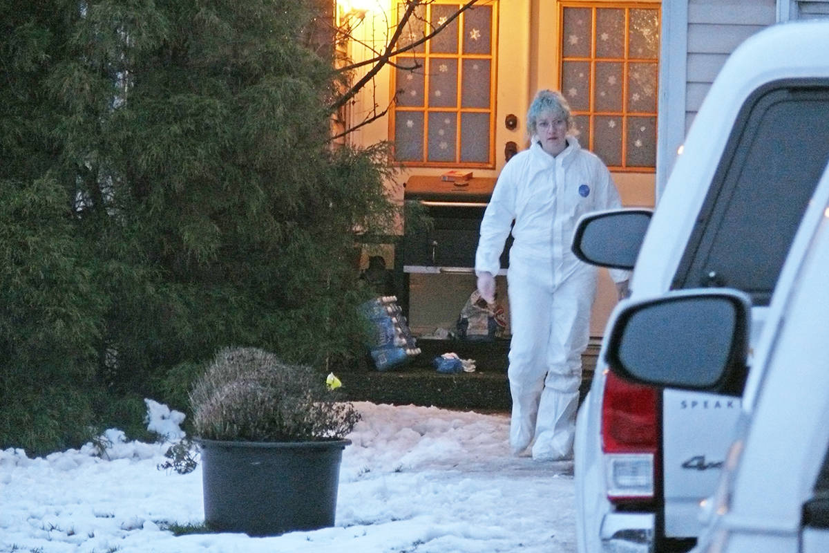 One of the SPCA employees who removed several animals from a Langley house in the 5500 block of 216 Street on Sunday (Jan. 19) around 4 p.m. (Dan Ferguson/Langley Advance Times)