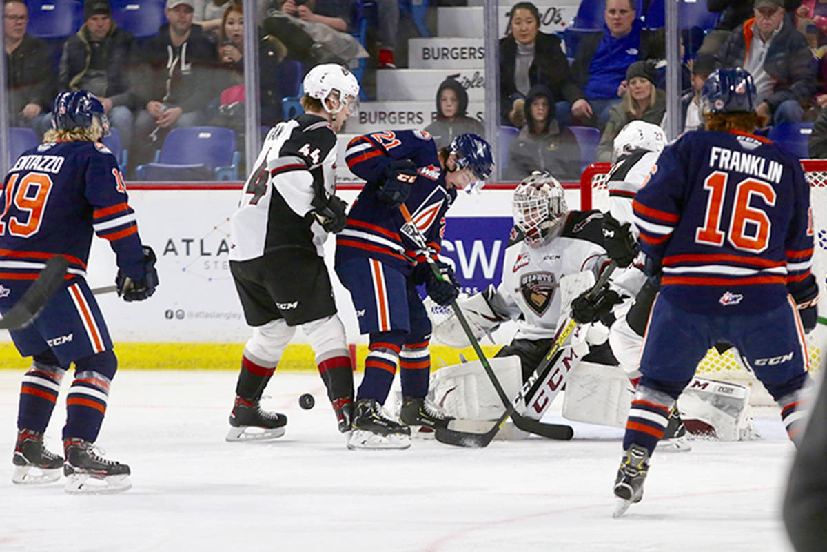 There was a lot of traffic in front of the Giants net Sunday, Jan. 20 as Kamloops posted a 4-0 win to bring their winning streak to eight in a row. (Rik Fedyck/special to Langley Advance Times)