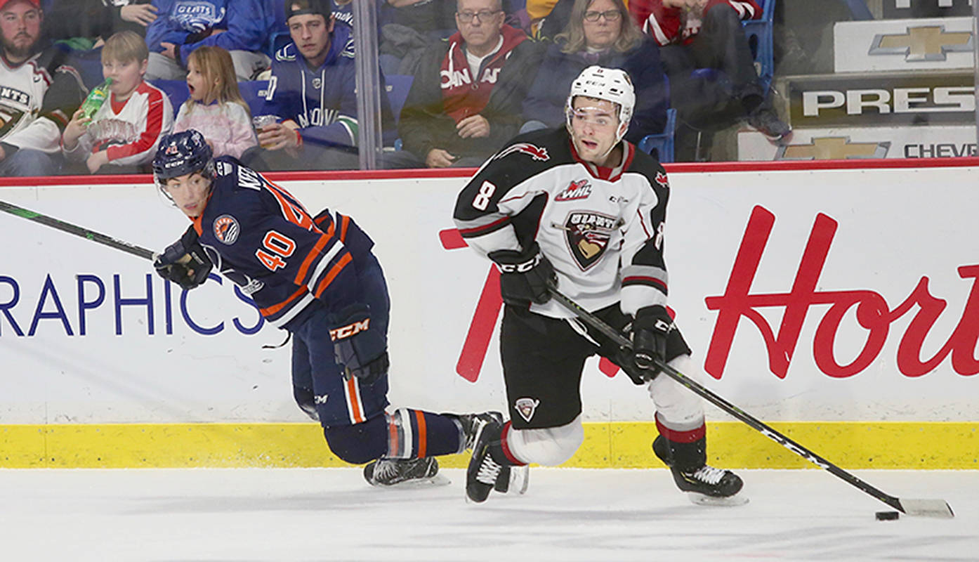Giants centre Tristen Nielsen gets the puck past a Kamloops rival. Blazers skated away with a one-sided 4-0 victory over host Vancouver at Langley Events Centre on Sunday, Jan. 20. (Rik Fedyck/special to Langley Advance Times)