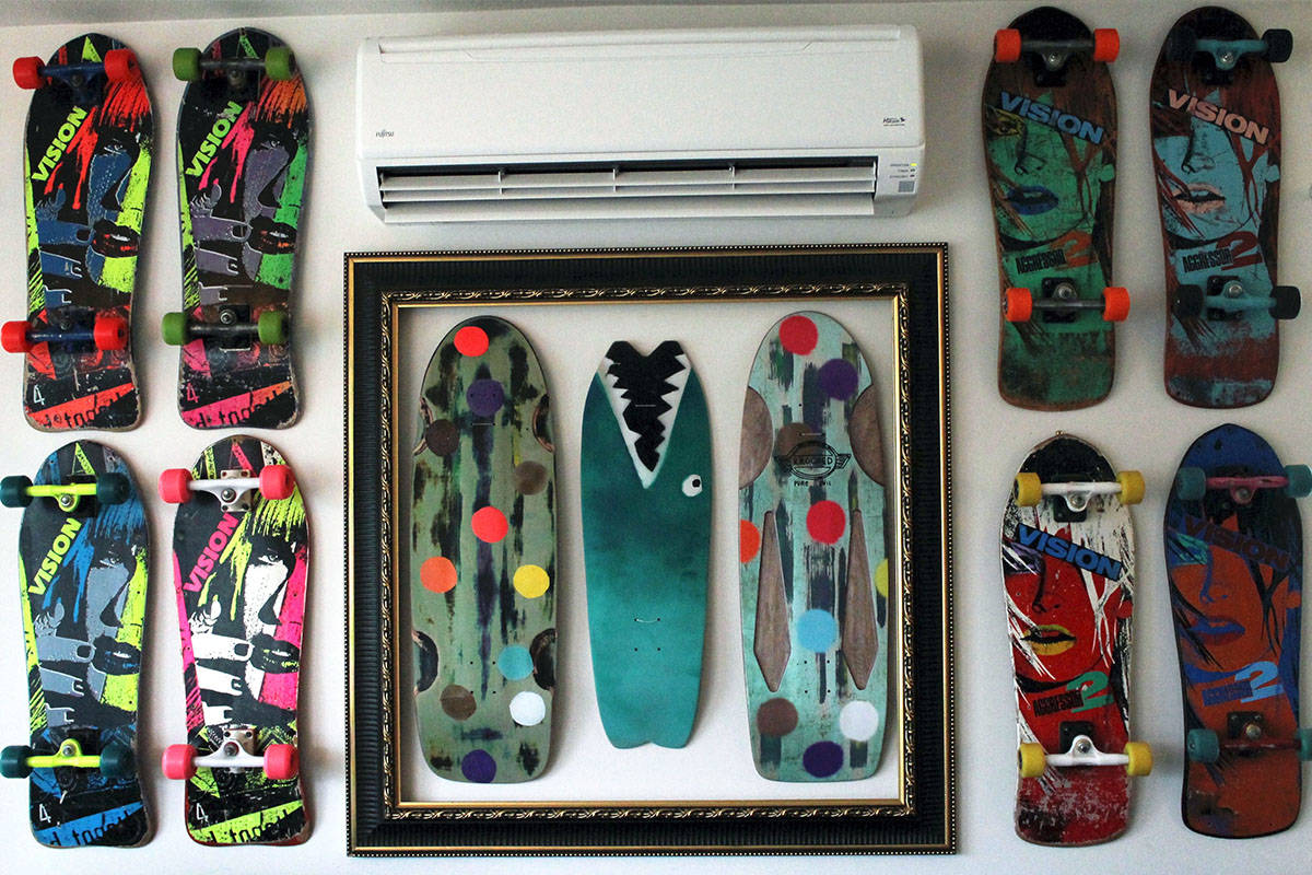 A snapshot of Eric Pinto's collection, featuring three boards designed by influential skateboarder Mark Gonzales. The surrounding setups are Vision skateboards, a team Gonzales also rode for in the 1908s. (Emily Vance photo)
