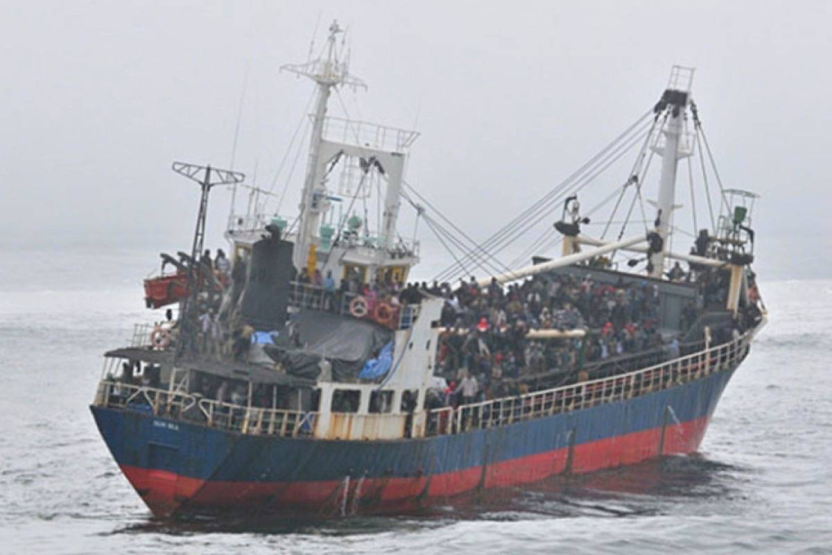 Tamil migrants arrived in B.C. aboard the MV Sun Sea in August 2010. (Handout file photo)